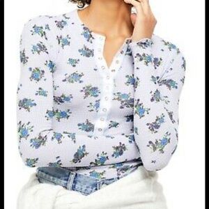 Free People One of the Girls Floral Henley